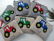 Personalised Tractor Purse/wallet Or Pencil Case Grey Wool Or Linen Word Choice
