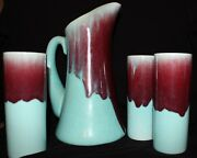 Allen California Art Pottery Six Glasses and Pitcher / Rare