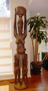 Incredible And Rare African Carving - Woman Baby Two Children - Almost 8and039 Tall