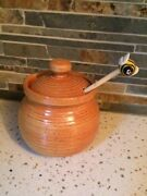 Hand-made Pottery Honey Pot with Bumblebee Dipper