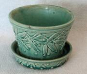 Mid Century McCoy Turquoise Raised Leaf Dot Design Pottery Planter