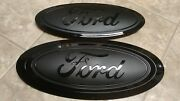 2017-19 Ford F250 F350 Grill And Tailgate Emblem Gloss/matte Black Combo Pair
