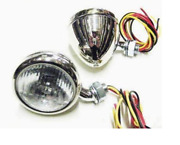 Ford Cowl Lamp / Light Set With Turn Signal And Stainless Steel Housing 1933-34