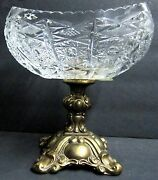 Antique Ornate Footed Bronze And Etched Diamond Crystal Cut Glass Compote Brass