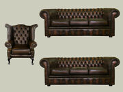 Genuine Leather Chesterfield 2x Three Seater Sofa And 1x Queen Anne Chair In Brown