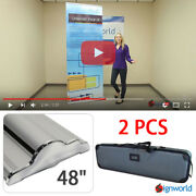 Retractable Roll Up Banner Stand Height Adjustable Display Sign Hd 48 2 Pcs