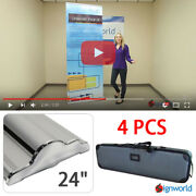 Retractable Roll Up Banner Stand Height Adjustable Display Sign Hd 24 4 Pcs