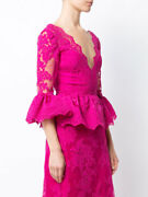 2390 New Marchesa 2 Pc Suit Frilled Peplum Lace Blouse And Skirt Pink Fuchsia 10