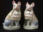 Antique Porcelain Pair Of Staffordshire Pigs With Baskets.