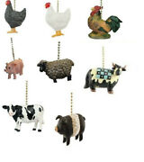 Country Farm Animal Ceiling Fan Pull -chickenroostersheeppigcow