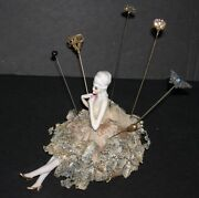 Half Doll W/ Legs - Hat Pin Holder - Old Dress W/ Ribbons And Roses -hat Pins Inc