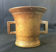 Old Vtg Brass Mortar Apothocary Pharmacutical With Handles 3.75 Tall X 3 Base