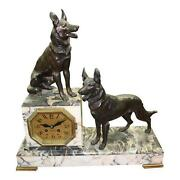 Large French Art Deco Clock Two Dog Sculpture Circa 1940s