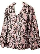 Avenue Paisley Pink And Brown Jacket 30 32 4x Plus Size Blazer New