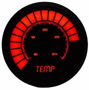 2 1/16 Universal Analog Water Temp Gauge Red Leds Black Bezel Made In The Us