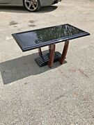 French Art Deco Large Coffee Or Cocktail Table Black Glass Top Circa 1940s