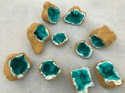 5 Tan Geode With A Green/blue Crystal Center - 10 Halves