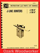 Yates-american J-line 6 And 8 Jointersj-136 J-138 Operator And Parts Manual 1218
