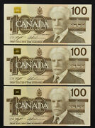 Lot Of 3 Consecutive 1988 Bank Of Canada 100 Knight Thiessen Nice Original Au's