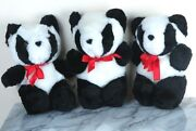 3 Plush Giant Panda Bears Need A Home - About 8 Tall - Brand New