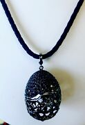 Russian Dolls By Svetlana Black Silver Pave Spinel Easter Egg Necklace