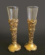 Pair Of French Gilt Silver Open Work And Crystal Vase