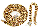 Chain And Bracelet Set,oro Collection Stainless Steel,gold Color,cz Flooded Locks