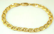 14k Yellow Gold Nautical Anchor Link Bracelet 17.2 Gr. 8 Long 6.6 Mm Wide Italy