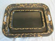 3 Tole Trays Black Serving Bed Snack Metal Hand Painted 20 X 15 18 X 13 14 X 9