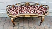 Antique 19c Incredible French Louis Xv Gilt Carved Ornate Kidney Shape Bench