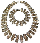 Estate Mexico Mexican Scroll Scallop Sterling Silver Necklace Bracelet Set Lot