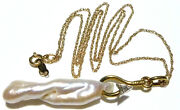 18 Cable Chain 2 Cultured Baroque Pearl Diamond Fish Hook Fishing Necklace