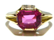 Incredible Ostby Barton Thick 10k Yellow Gold Pink Stone Nouveau Deco Ring S10.5
