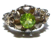 Designer Signed Odd Ornate Thick Sterling Silver Ball Peridot Ring Band Size 8