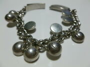 Early Mexico Mexican Sterling Silver Womens Modern Heavy Charm Bracelet 7.5