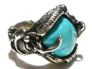 Great Odd Artisan Sterling Silver Hand Made Turquoise Estate Ring Size 6.75