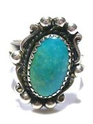 Pretty Bell Trading Post Southwestern Turquoise Sterling Silver Womens Ring 6.35