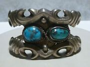 Old Estate Turquoise Sterling Silver Mexico Mexican Cuff Bracelet 87 Grams