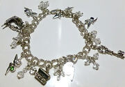 7.25 Packed Official Disney Sterling Silver Tinkerbell Crystal Charm Bracelet