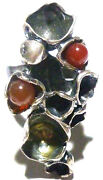 Large Modern Odd Sterling Silver And Carnelian Bead Womens Estate Ring Size 6.5