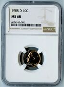 1988-d Ngc Ms68 Roosevelt Dime 10c Top Pop Only 2 Exists In Ms68 By Ngc