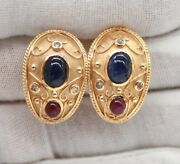 14k Yellow Gold Cabochon Sapphireruby And Old Diamonds Estate Earrings Omega Back