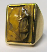 Antique 14k Gold Tigerand039s Eye Roman Soldier Cameo Per Sempre Forever Ring