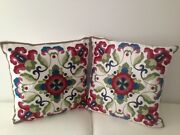 2 X Red Floral Crewel Country Vintage Ethnic Cotton Pillow Cushion Covers 18