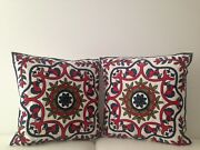 2x Red Floral Crewel Country Vintage Ethnic Cotton Pillow Cushion Covers 18
