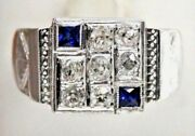 Vintage Men`s 18k White Gold Rose Cut Diamonds And Sapphires Pinky Ring Size 10