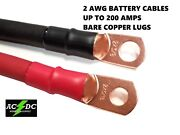 2 Gauge Copper Battery Cables Power Wire Car Carts. Truck Inverter Rv Solar