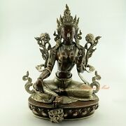Fine Hand Carved 16 Green Tara / Dolma Oxidized Copper Statue From Patan Nepal