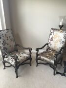 1636-401 Pair Of 2 Marge Carson French Louis Xvi Arm Chairs With Giltwood Trim