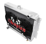 Champion 4 Row Aluminum Radiator For Dodge Plymouth Cars 22in Core + Plus Fan